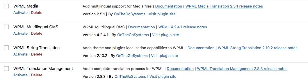 Activate WPML translation plugins to create multi-language website