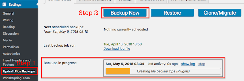 Backup WordPress site - Updraftplus