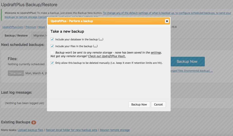 UpdraftPlus backup confirmation popup