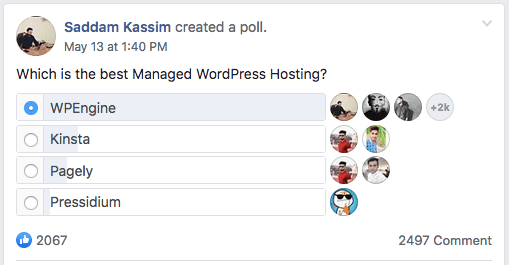 WPEngine facebook poll result