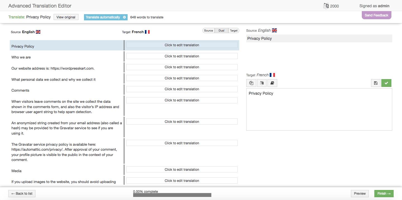 WPML automatic translation editor