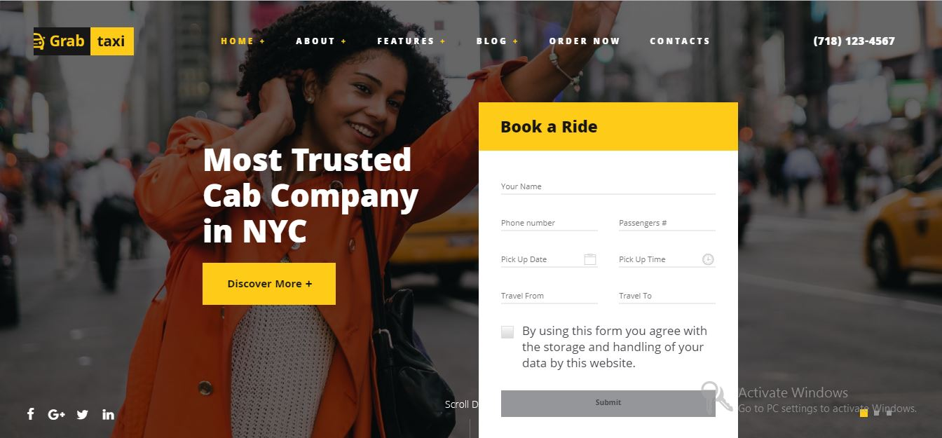 Grab taxi, taxi wordpress theme