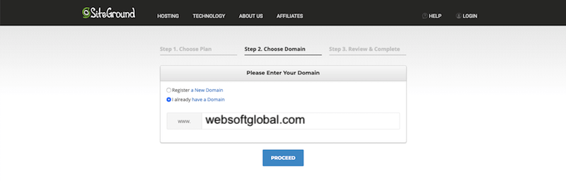 siteground register a domain